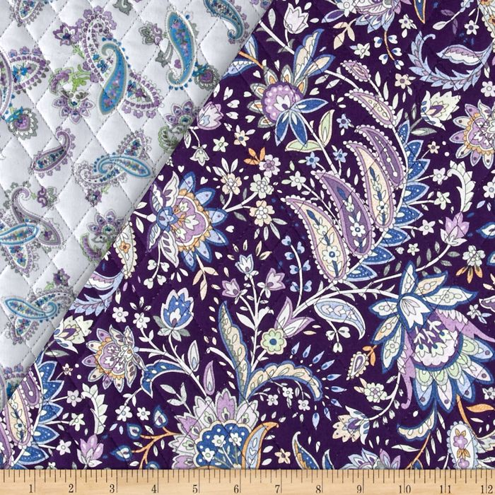 Notting Hill Double Sided Quilted Paisley Floral Purple Fabric By ... : double faced quilted fabric - Adamdwight.com