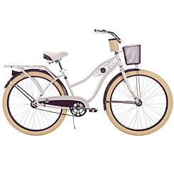 Huffy Deluxe 26 Ladies Cruiser Bike With Basket And Beverage