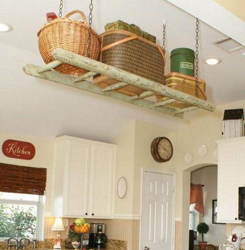 Small Kitchen Organizing Ideas   Suspended Ladder Storage   Click Pic For  42 DIY Kitchen Organization Ideas U0026 Tips