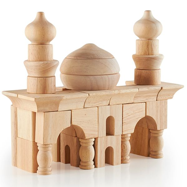 Arabian Building Blocks - $32.95 - #PlayOfTheDay Transport your building and imaginative play to the land of 1001 Arabian Nights with these amazing, eco-friendly rubber wood blocks that offer unique shapes, turrets, columns, domes, arches, and beveled blocks. Heirloom quality and gorgeous enough to leave out when you have company--so that they can play, too! (Click to be transported in time and space!)