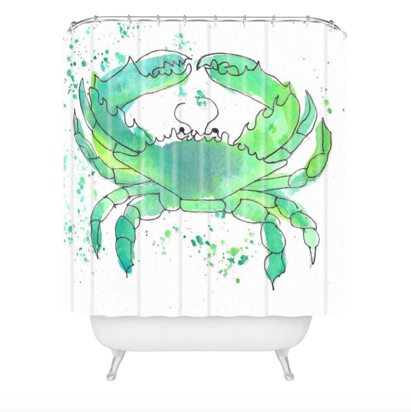 Seafoam Green Crab Shower Curtain Beachy Shower Curtain
