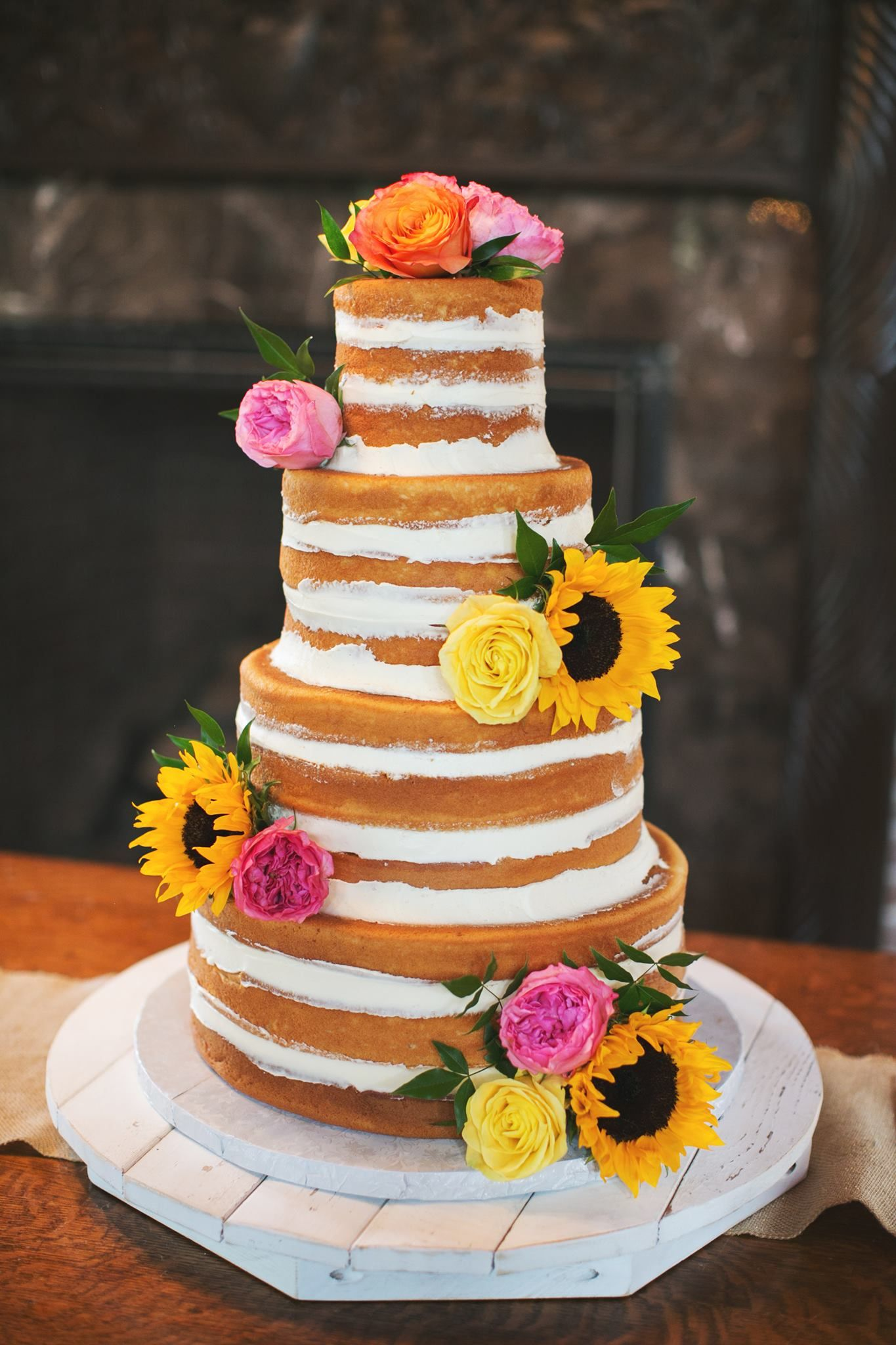 Naked Wedding Cake Sunflower Wedding Cake Spring Wedding Cakes In