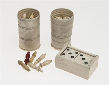 A 19th Century Carved Bone Miniature Domino Set And Box Together With Two Dice Shakers And Approx Bone Carving Carving Miniatures