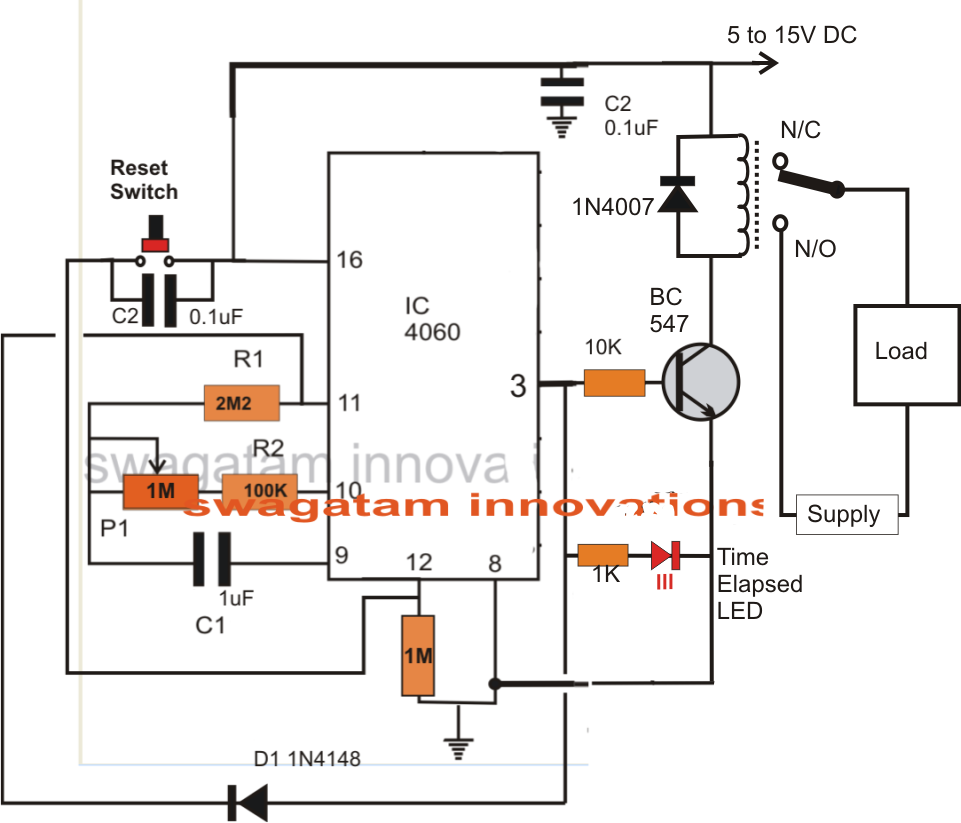 Simple Adjustable Industrial Timer Circuit Homemade Basic Electronic Circuits Projects