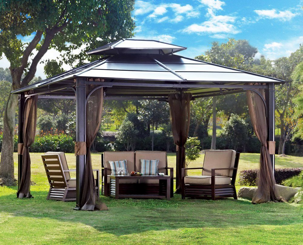 Outdoor Patio Gazebos   10 X 12 Chatham Steel Hardtop Gazebo : Patio, Lawn  U0026 Garden