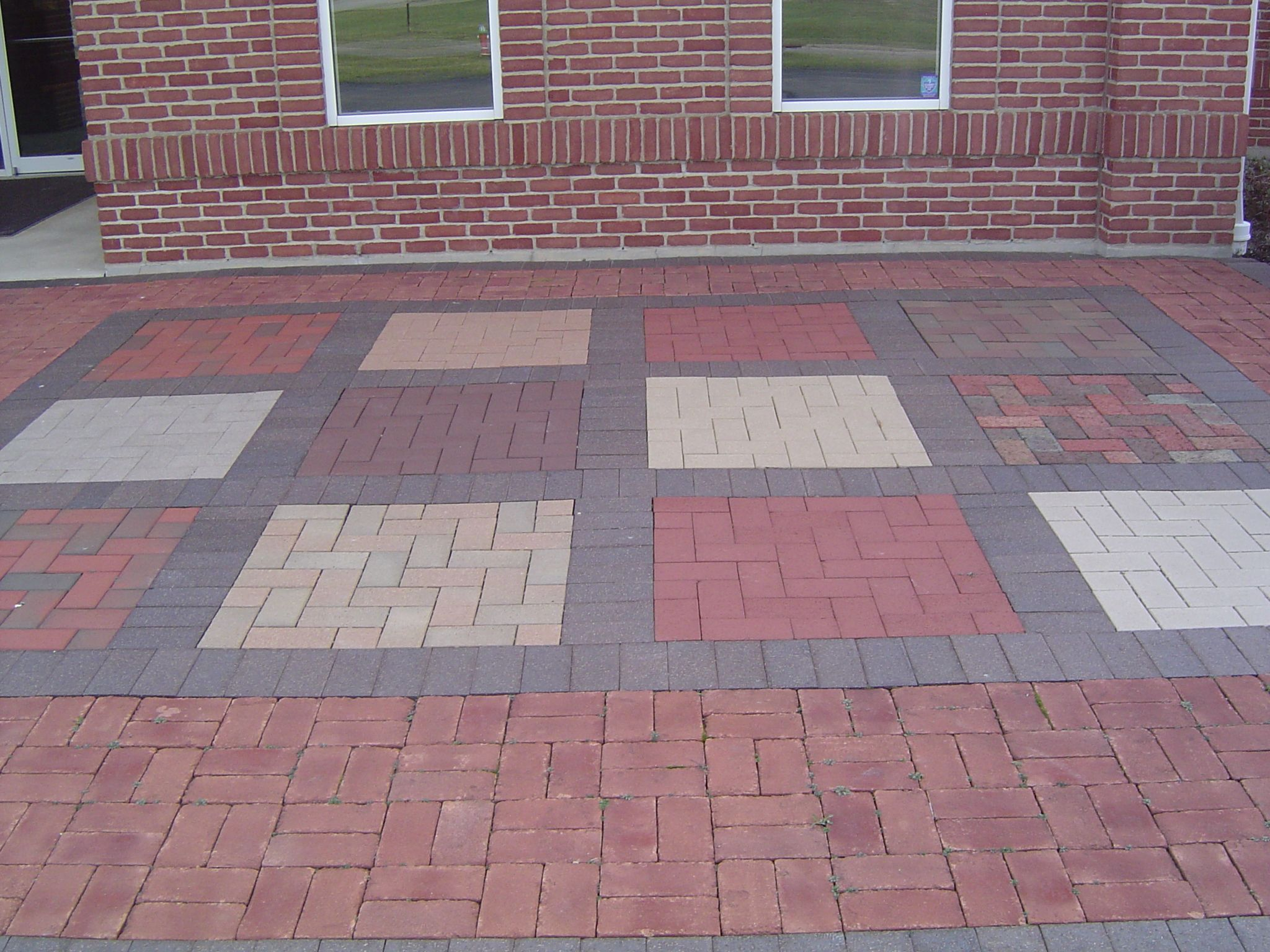 Flooring Patio Designs Among Bricks Applying White Also Bron Plus Red Color