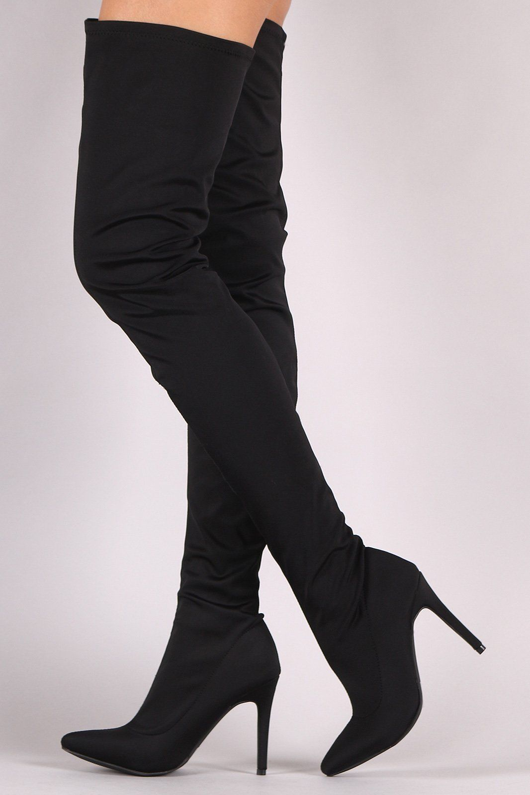 8a0406864d0 These over the knee boots feature a slightly stretched elastane shaft