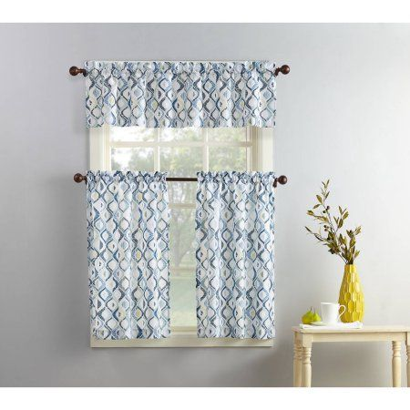 Mainstays Modern Trellis 3 Piece Kitchen Curtain Set Walmart Com Kitchen Curtains Kitchen Curtains And Valances Curtains