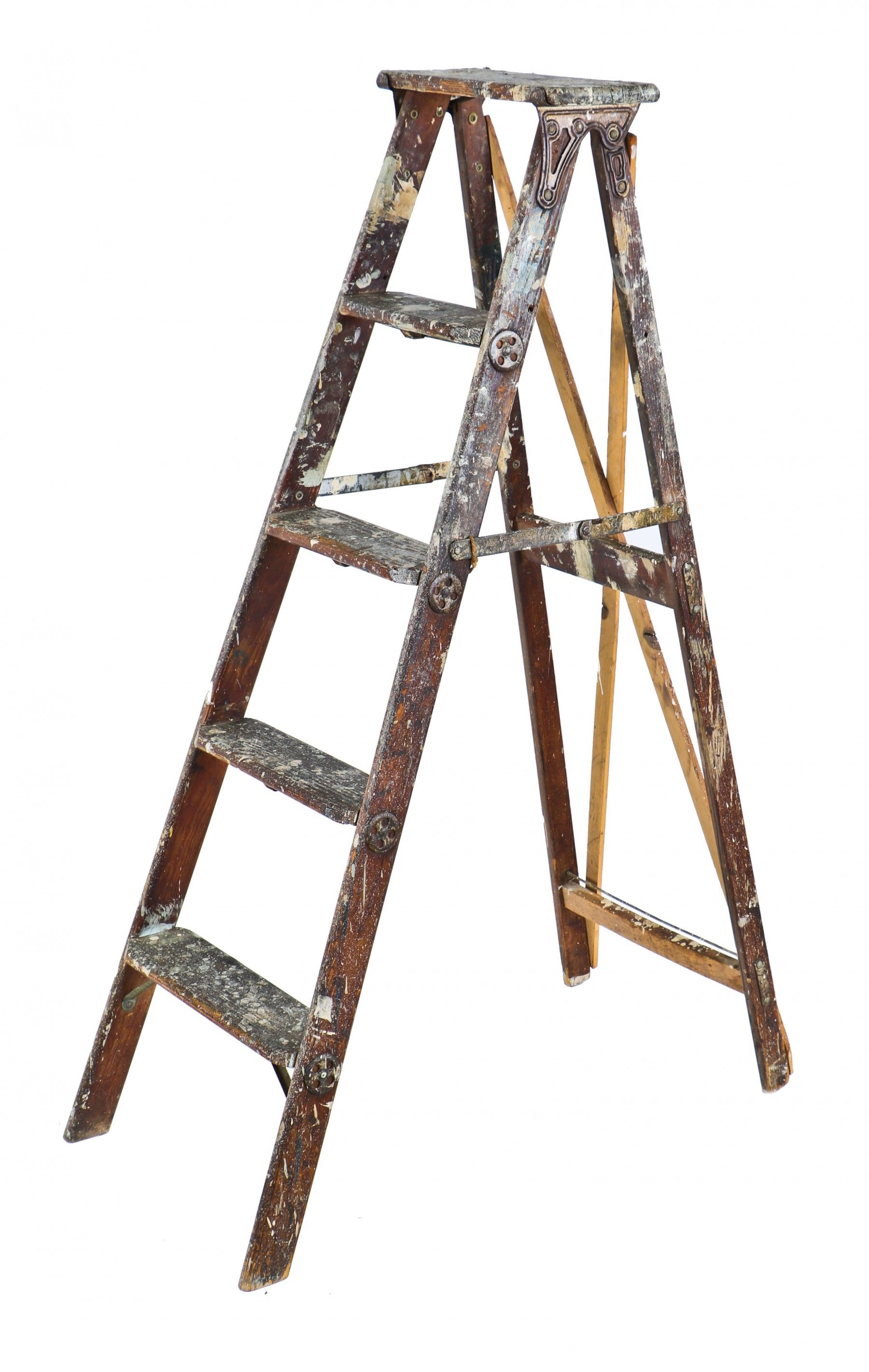 C 1896 Original And Structurally Sturdy Old Reliable Folding A Frame Pine Wood Painters Ladder With Reinforced Rungs Containing Steel Tie Rods Thr