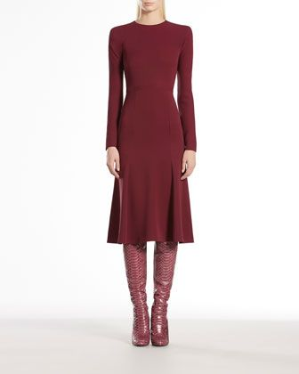 Silk Cady Long-Sleeve Dress by Gucci at Bergdorf Goodman.     Bordeaux silk cady.     Drop shape back opening.     Strong shoulders.     Flared skirt.     Made in Italy.