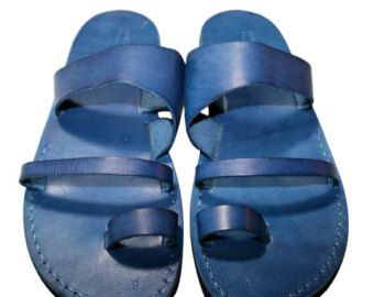 Blue Thong Leather Sandals