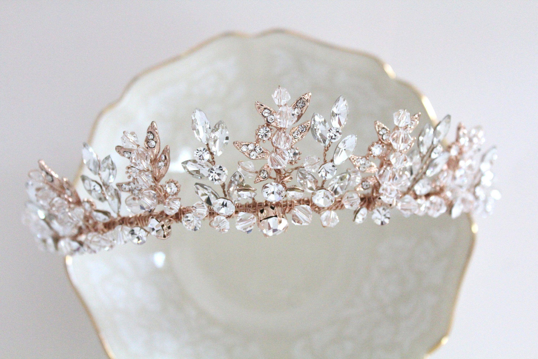 rose gold leaf crown crystal wedding tiara rhinestone