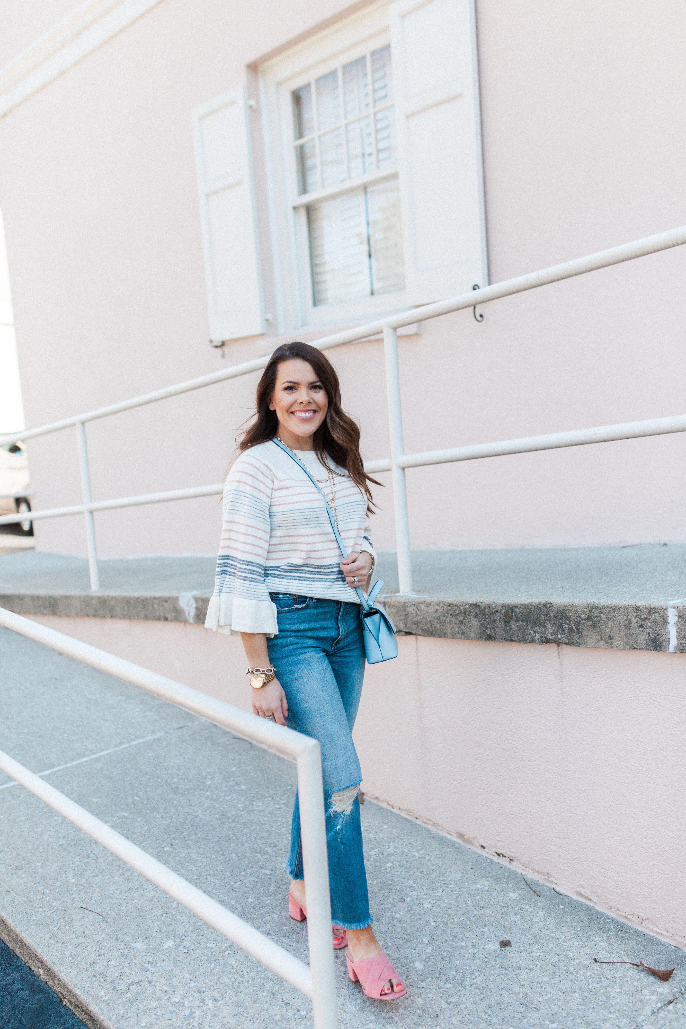 How to wear boyfriend jeans via Glitter   Gingham   Spring Stripe Sweater 5bf3c7fb9
