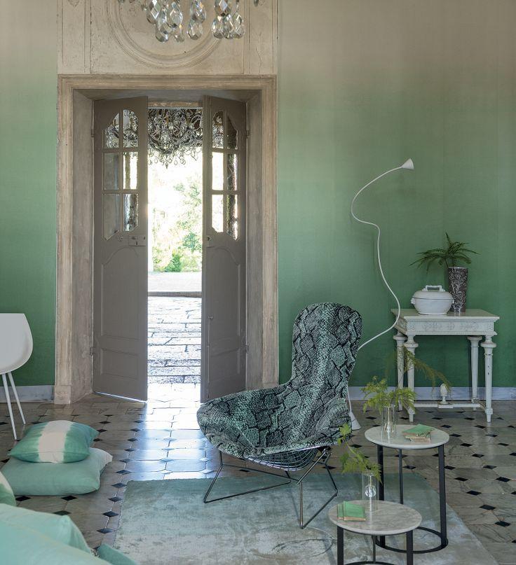 Papel pintado degradado verde fresco dise o vintage for Papel pintado elegante