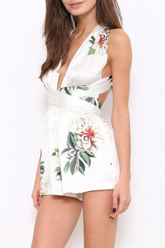 76608af99ba2 Bellini Floral Print Multi Way Wrap Romper - Ivory – Daily Chic ...