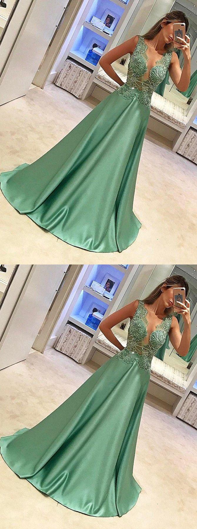 Aline crew sleeveless sweep train green satin prom dress with