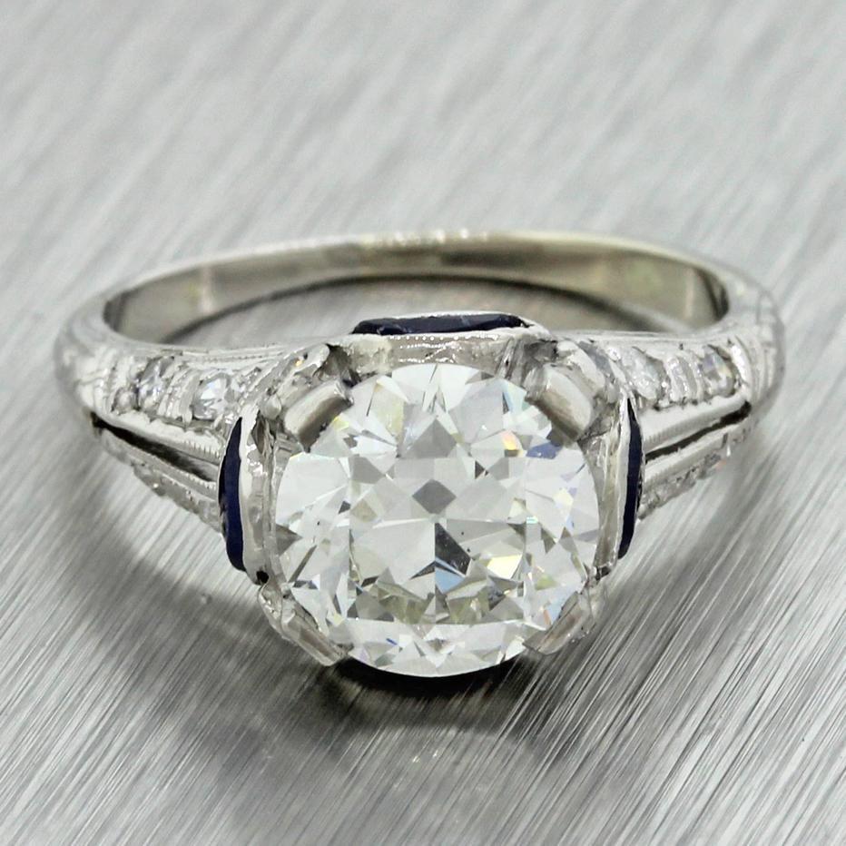 1920s antique art deco platinum 170ct diamond sapphire