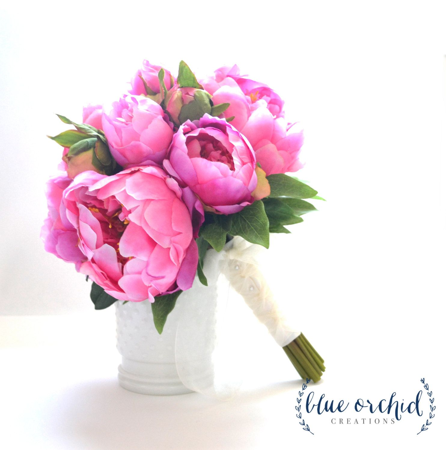 Hot pink peony bouquet peony wedding bouquet hot pink peonies peony bouquet with white and pink peonies silk peony wedding bouquet peonies cream and blush peonies dhlflorist Images
