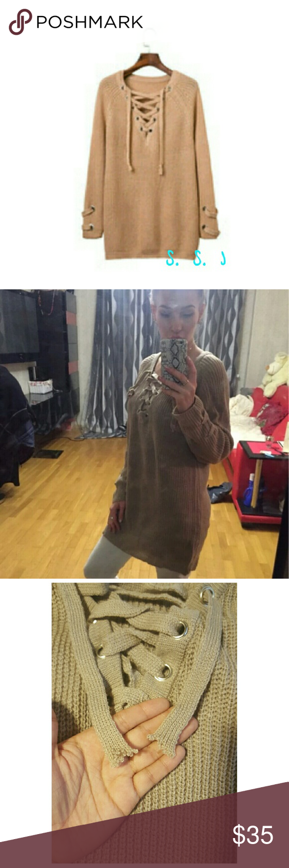 Womens lace up v neck sweater Women sexy lace up v neck sweater . Has lace-up sleeve on both sides. Is a loose knit wear super cute and comfy.  Strings have a little loose thread other than that it's super cute! boutique Sweaters V-Necks