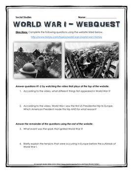Photo of World War One – Webquest with Key (History.com)
