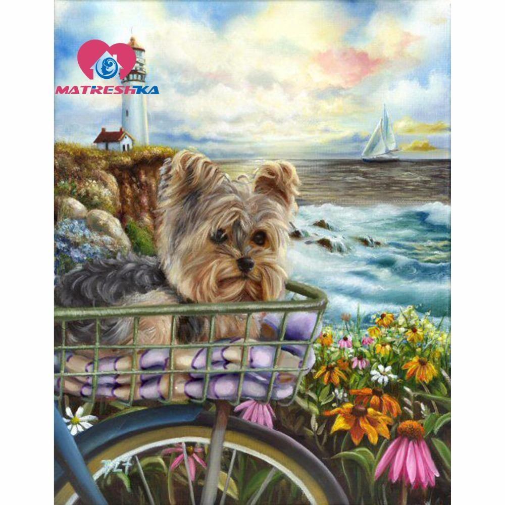 D diamond painting yorkie bicycle ride kit dog yorki pinterest