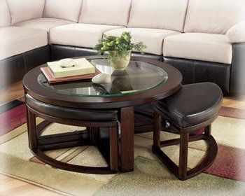 Amazoncom Marion Round Cocktail W Backless Stools By Ashley - Round coffee table with pull out seats