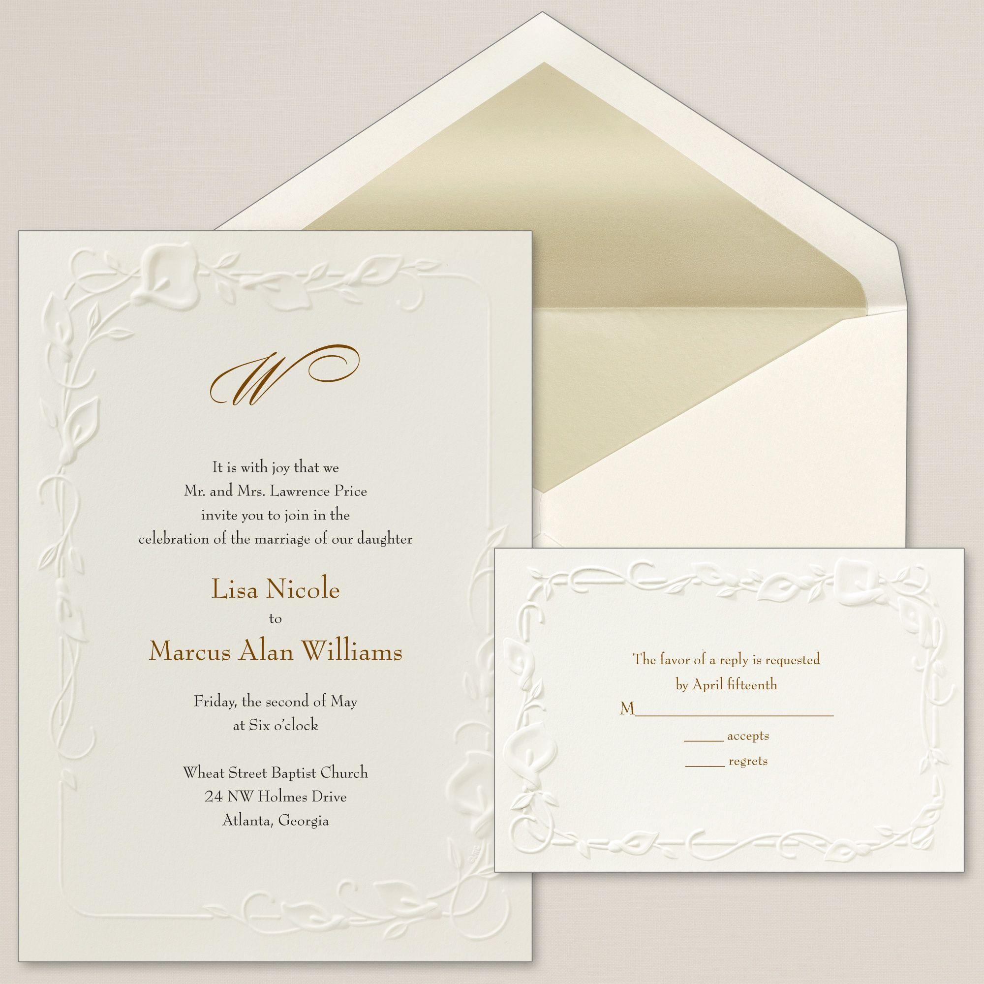 Calla Lily Beauty Wedding Invitation   #exclusivelyweddings   Bride ...