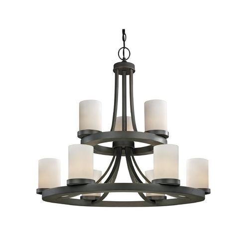 Two Tier Candle Chandelier With Nine Lights In Bronze Finish At Destination Lighting