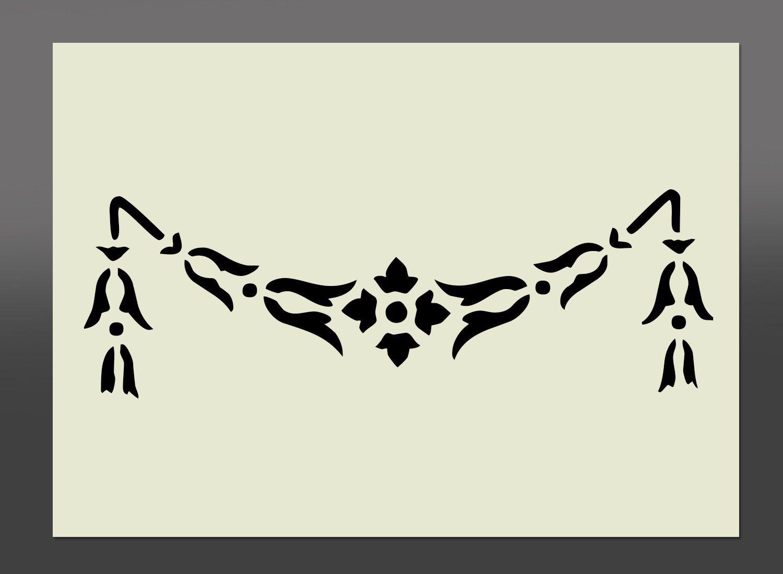Pochoir style shabby chic boarder mylar a4 297 x 210 mm d coration murale mobilier tissu - Pochoir shabby chic ...