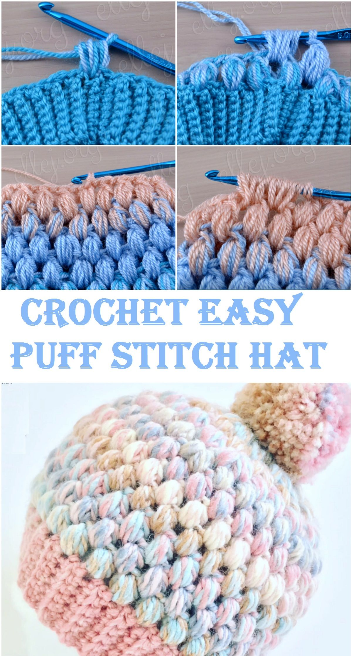 Crochet Easy Puff Stitch Hat | Crochet | Pinterest | Gorros, Gorro ...