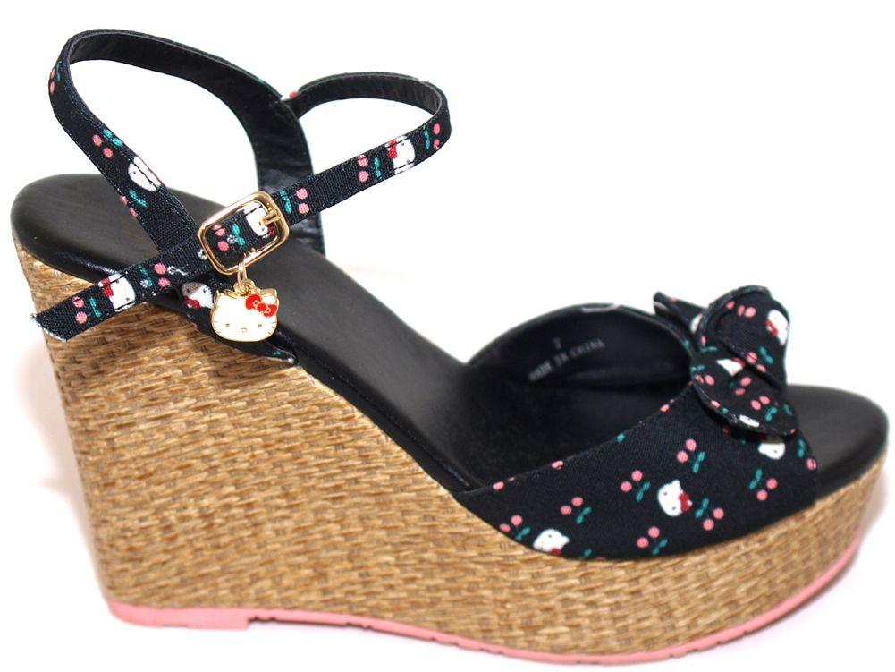 4c5992ca7 Hello Kitty Sneaker Wedges | Hello Kitty Cherry Print Black Wedge Platforms  Sandals Heels Shoes .