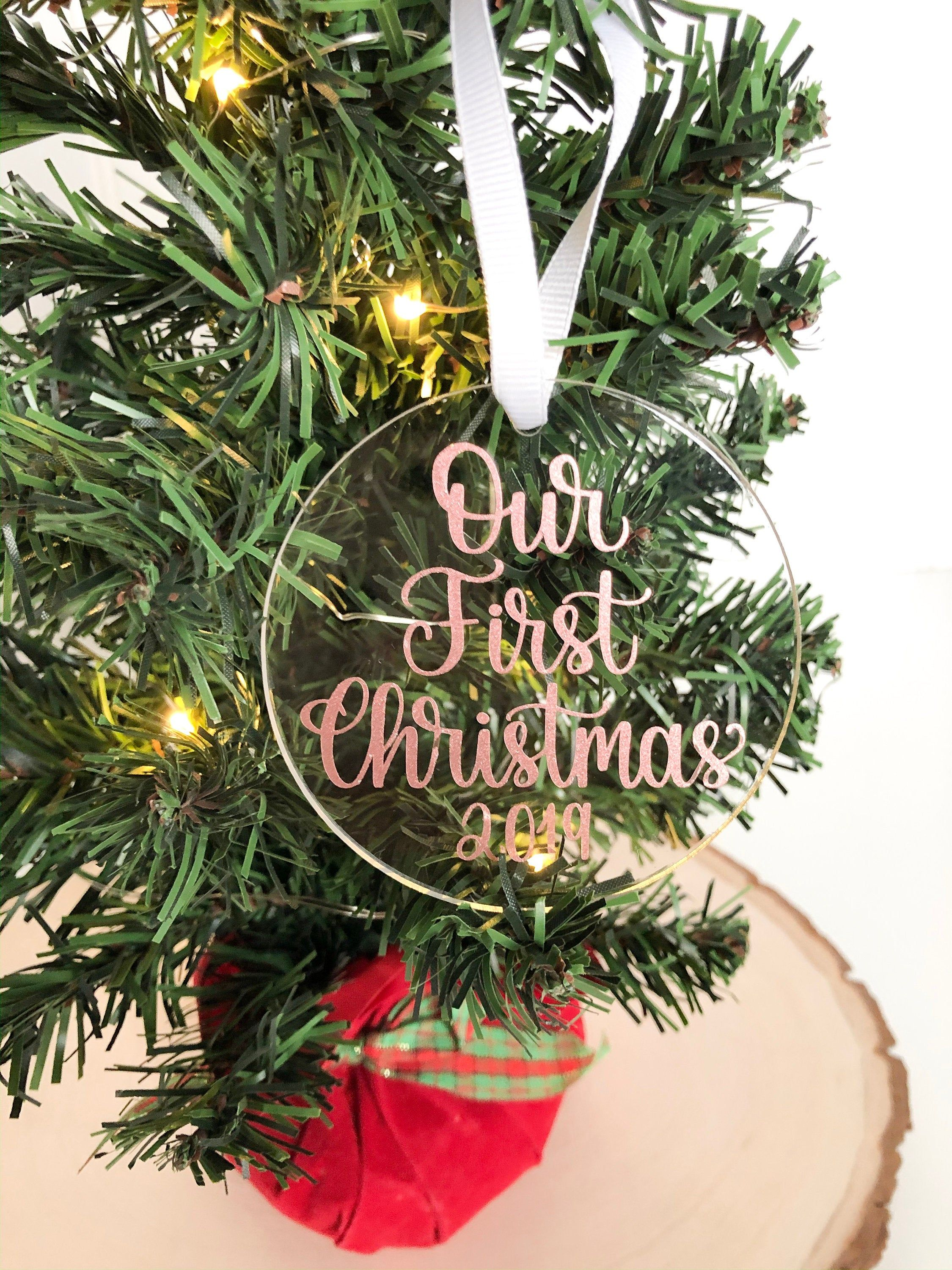 Our First Christmas Acrylic Ornament Newlywed Ornament First Etsy Our First Christmas Ornament Christmas Wedding Gifts Couples Ornaments