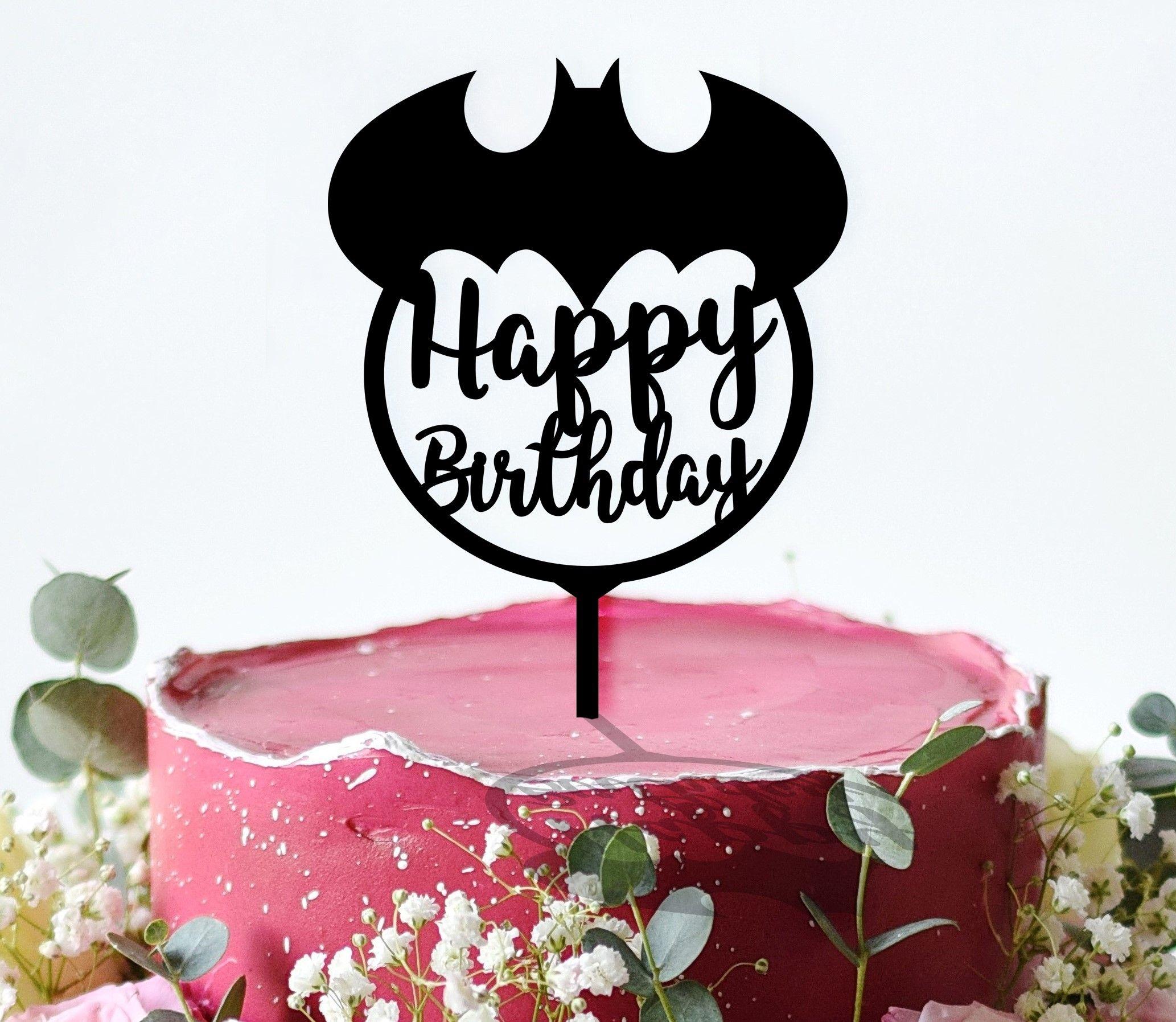 Batman Cake Topper Happy Birthday Cake Topper Acrylic Cake