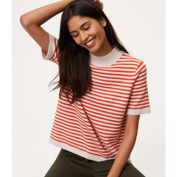 Loft Striped Mockneck Short Sleeve Sweater 50 Liked On