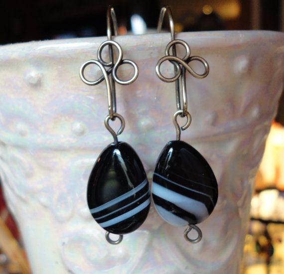 Teardrop Earrings Black White Striped Agate by PraytorProject, $15.00
