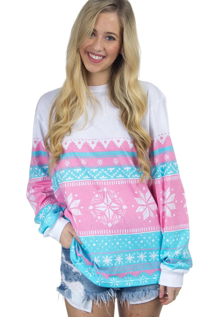 Pink Snowflake Print Stylish Christmas Jumper in 2020