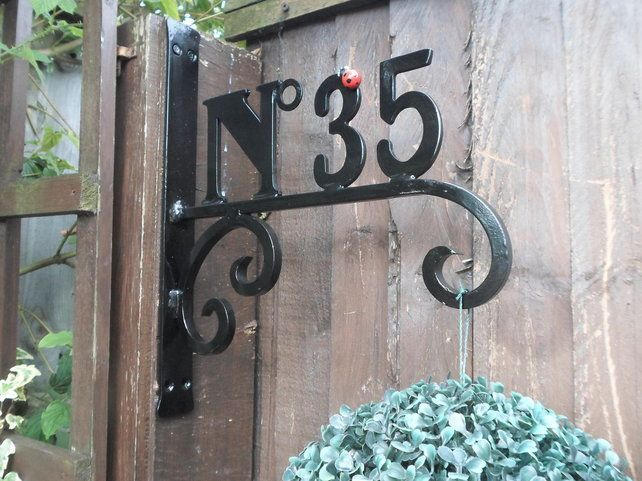 Numbered Hanging Basket Bracket Wrought Iron Forged