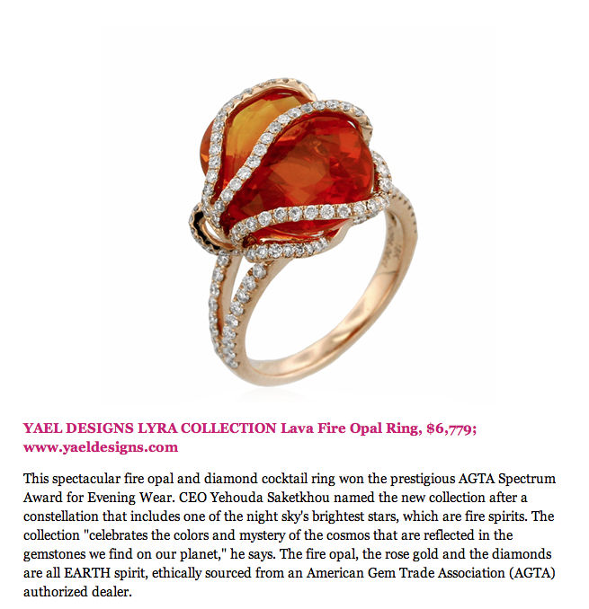 Huff post Style features Yael Designs Fire Opal ring as Wearable Art