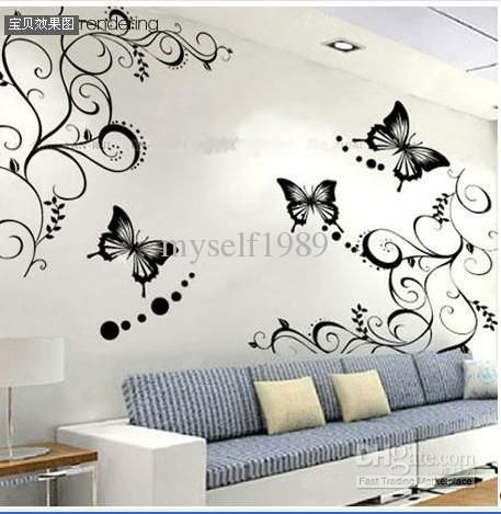 wholesale butterfly vine flower wall art stickers decals wall paster house decorative stic free shipping