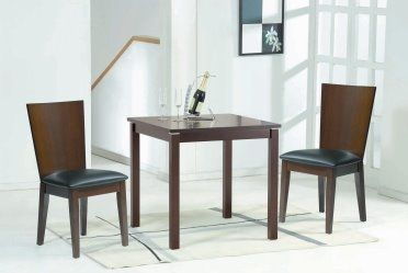 CAFE-211 with SIDE-82. A simple solution for a small dining room. Laminated beech veneer top table with solid wood legs. Upholstery seat with solid wood legs and backrest for your comfort.