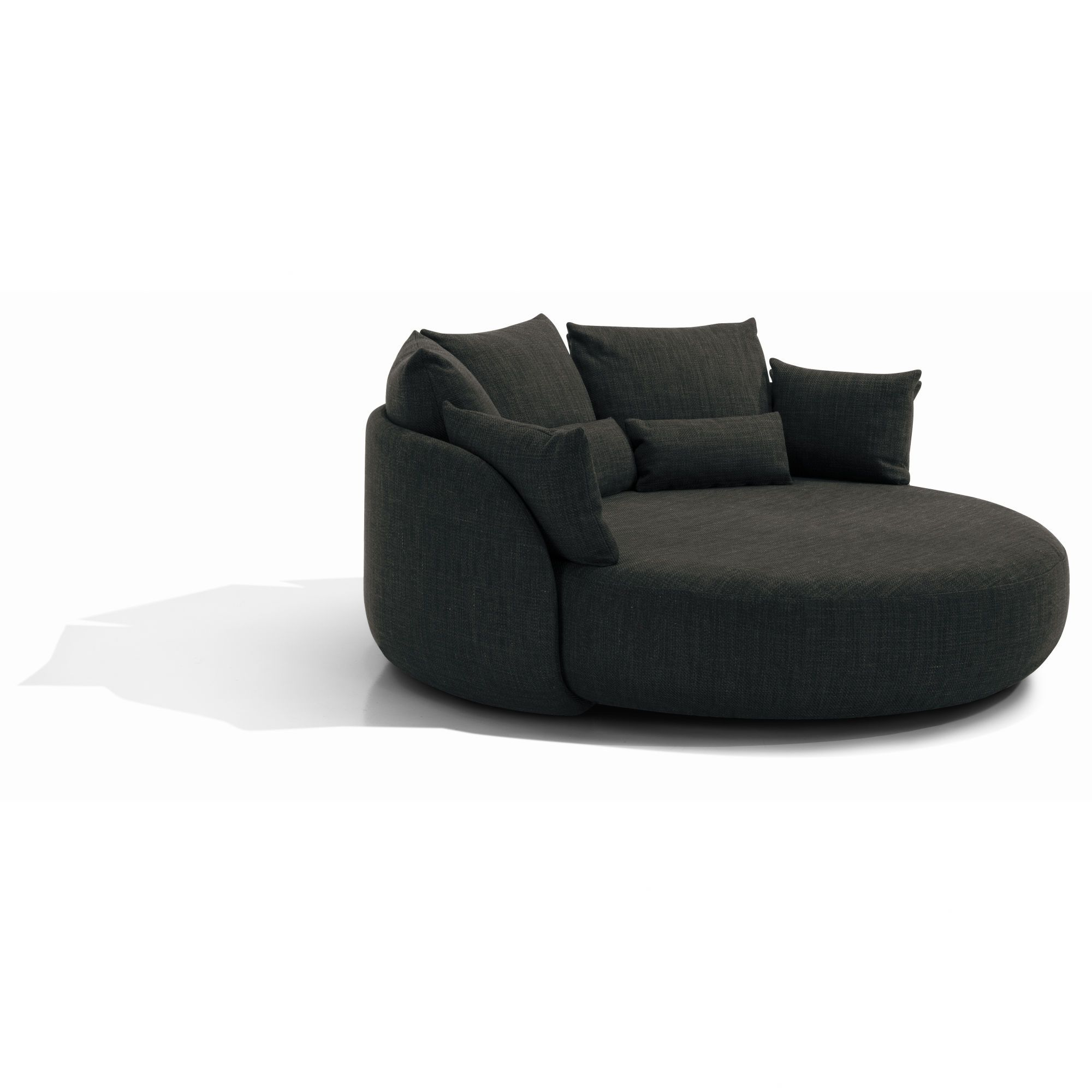 "Curved Sofa For Small Spaces: Totally Impractical Sofa For Our Small Space At 81"" Round"