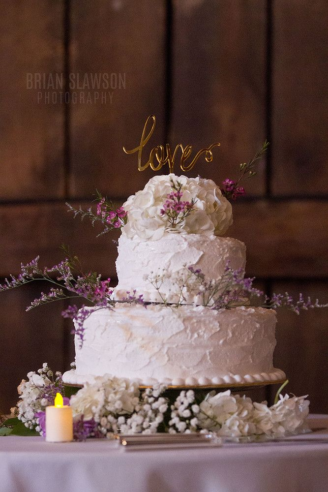 Photo By Brian Slawson Photography Natural Themed Wedding Cake Textured Frosting Lavender Flowers