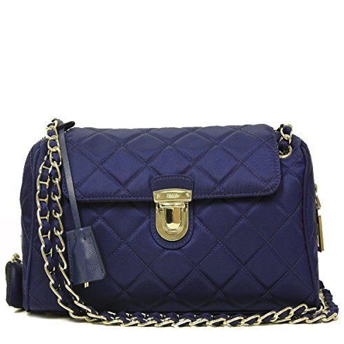 4ef6fe4023f1b5 Prada Tessuto Saffian Royal Blue Quilted Nylon Chain Bag Shoulder Handbag