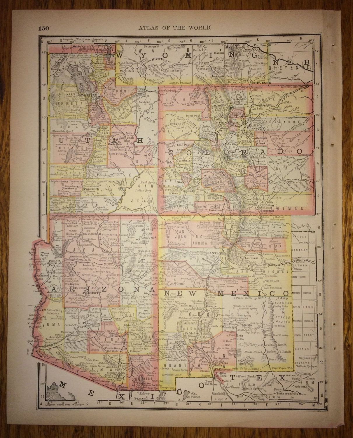 Utah colorado arizona new mexico large map 1888 rand mcnally 1888 utah colorado arizona new mexico large map 1500 use pin10 at checkout for 10 off gumiabroncs Image collections