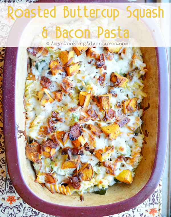 Roasted Buttercup Squash Bacon Pasta Buttercup Squash Squash Recipes Bacon Pasta