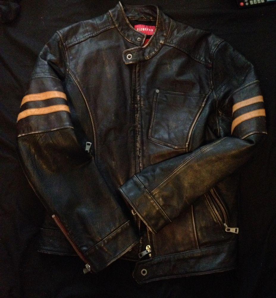 Firetrap Wolverine Xmen Style Mens Leather Biker Jacket Mens Leather Jacket Biker Biker Jacket Mens Jackets