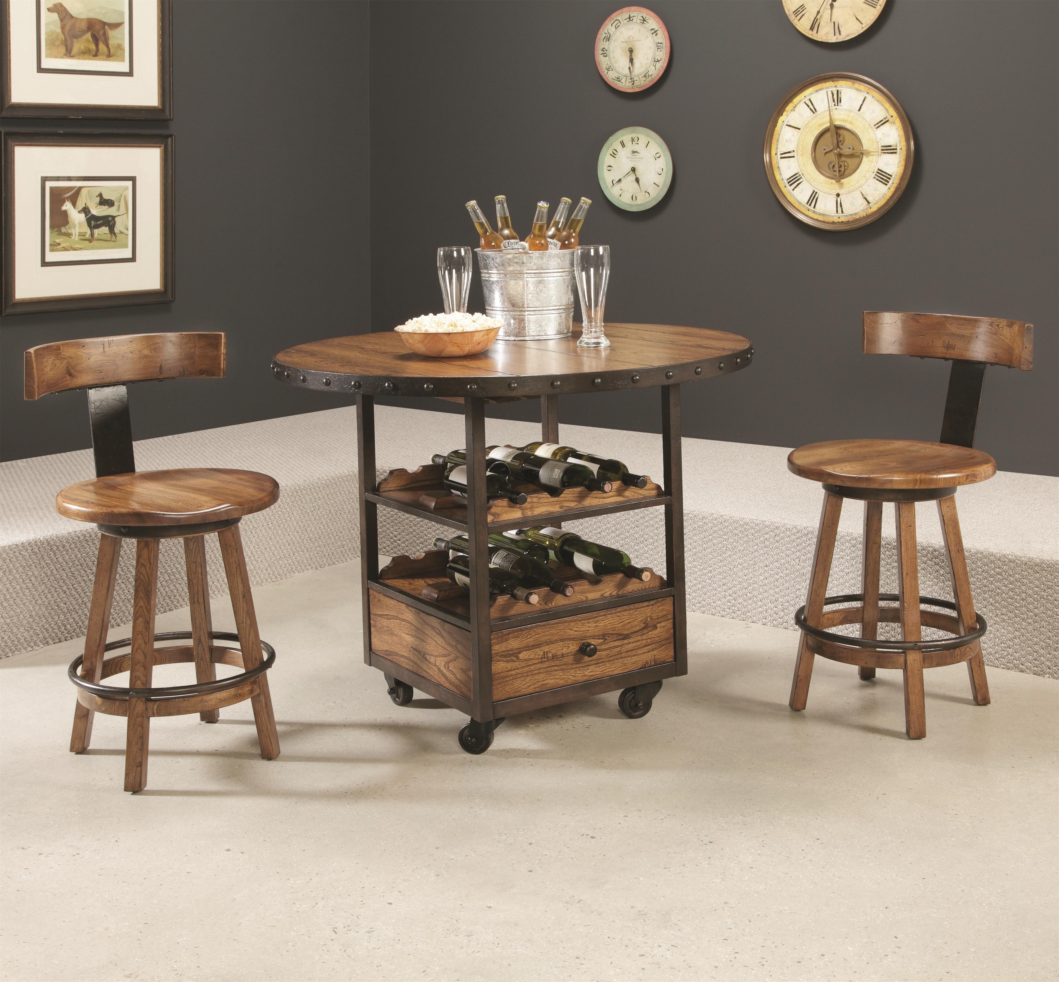 Pub Table Set With Wine Storage