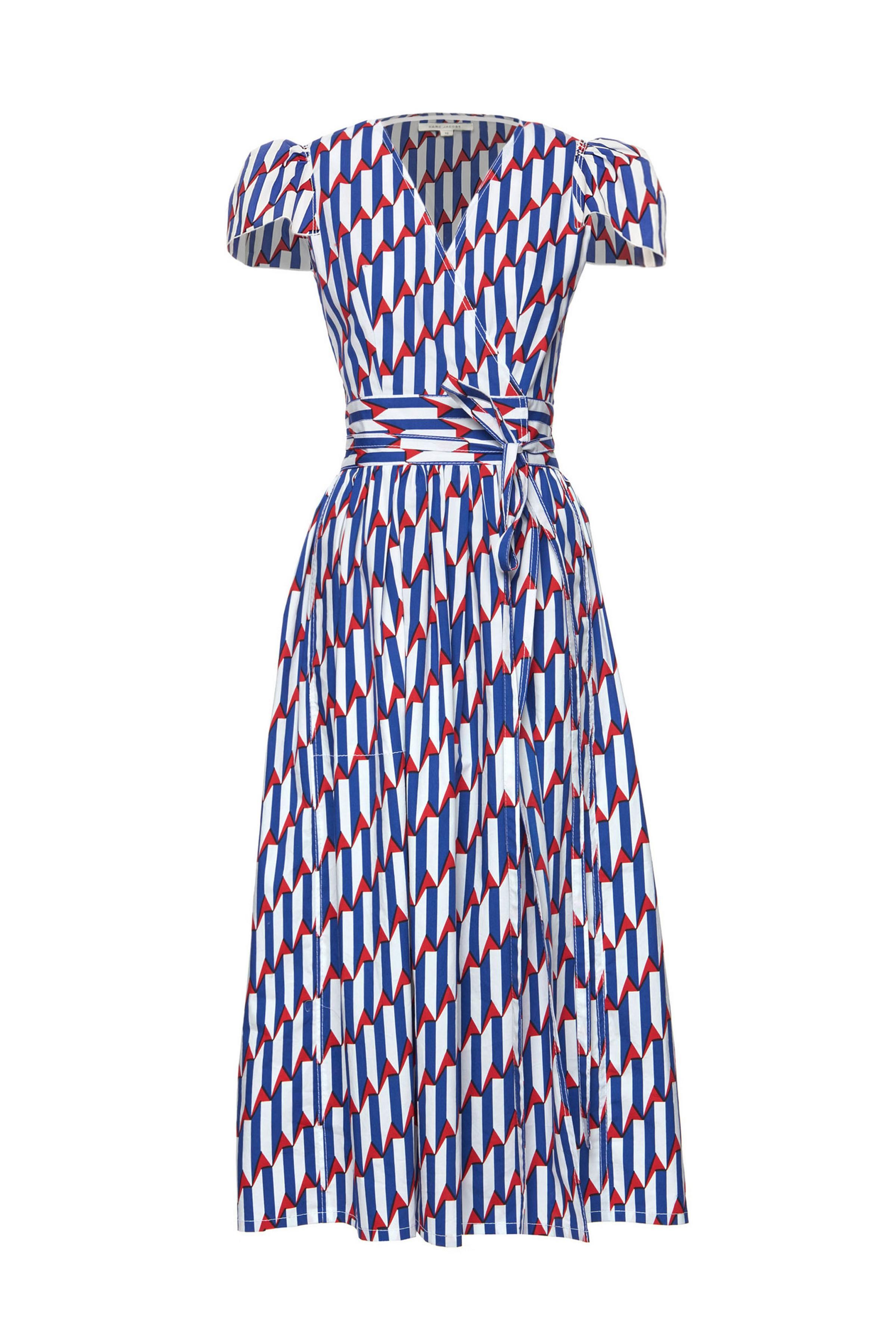 3452528db84 The Marc Jacobs Arrow Print Poplin Dress is made from cotton poplin with  stretch and features a red, white and blue print inspired by this season's  ...