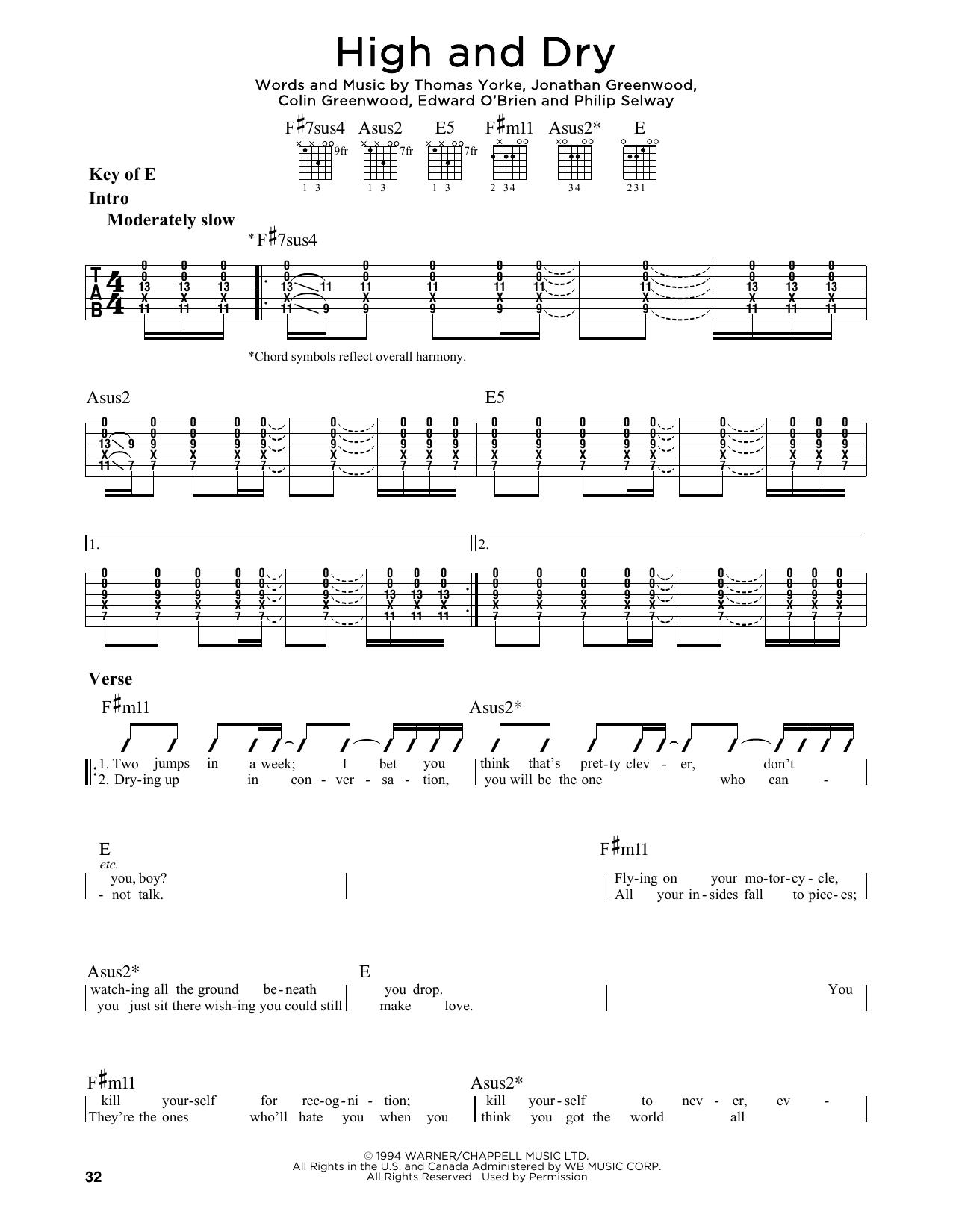 High And Dry Sheet Music   Radiohead   Guitar Lead Sheet   Lead ...