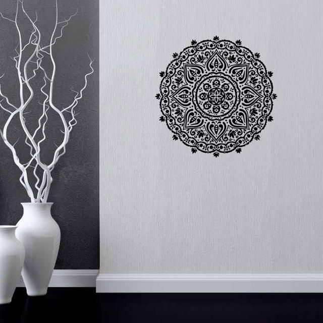 Hot Selling Buddhism India Mandala Wall Stickers Namaste Removable Creative Vinyl Wallpaper Mural Home Decoration